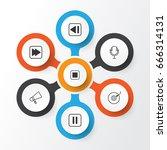 multimedia icons set.... | Shutterstock .eps vector #666314131