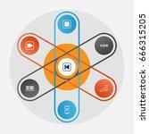 multimedia icons set.... | Shutterstock .eps vector #666315205