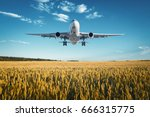 airplane. landscape with big... | Shutterstock . vector #666315775