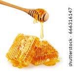 sweet honeycomb and wooden... | Shutterstock . vector #666316147