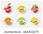set of orange  lemon ... | Shutterstock .eps vector #666322675