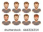 face man set of male facial...   Shutterstock .eps vector #666326314