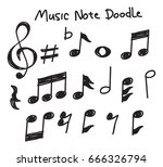 set of music note doodle  | Shutterstock . vector #666326794