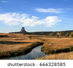 devils tower  also know as bear ... | Shutterstock . vector #666328585