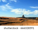 devils tower  also know as bear ... | Shutterstock . vector #666328591