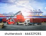 logistics import export...   Shutterstock . vector #666329281