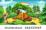 camping and adventure time.... | Shutterstock .eps vector #666333469