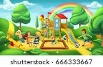children playground. nature... | Shutterstock .eps vector #666333667