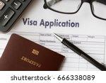 visa application form to travel ... | Shutterstock . vector #666338089