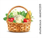 basket with vegetables and... | Shutterstock .eps vector #666342205