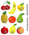 set of fruit  characters... | Shutterstock .eps vector #66634543