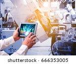 controler of robotic hand ... | Shutterstock . vector #666353005