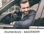 young business man test drive... | Shutterstock . vector #666354049