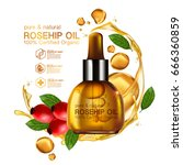 rose hip oil natural cosmetic... | Shutterstock .eps vector #666360859