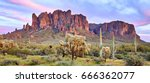 saguaros at sunset in front of... | Shutterstock . vector #666362077