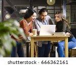 a team asian and caucasian... | Shutterstock . vector #666362161