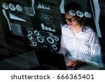 woman engineer looking at... | Shutterstock . vector #666365401