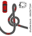 the road is stylized in the... | Shutterstock .eps vector #666367264
