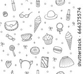 seamless pattern with sweets... | Shutterstock .eps vector #666375574