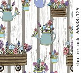 flowers on wood seamless pattern   Shutterstock .eps vector #666385129