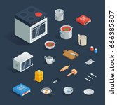 a set of isometric  kitchen... | Shutterstock .eps vector #666385807