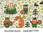 seamless pattern with three... | Shutterstock .eps vector #666387799