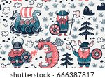 seamless pattern with three...