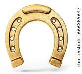 Stock photo gold horseshoe isolated on a white background d illustration 666389647