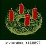 advent wreath sketch | Shutterstock .eps vector #66638977