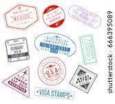 set of visa passport stamps.... | Shutterstock .eps vector #666395089