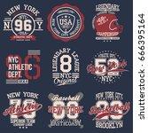 vintage labels set  athletic... | Shutterstock .eps vector #666395164
