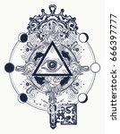 masonic eye and key tattoo... | Shutterstock .eps vector #666397777