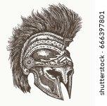 ancient spartan helmet hand... | Shutterstock .eps vector #666397801