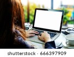 women working laptop and on the ... | Shutterstock . vector #666397909