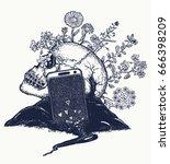 skull and mobile phone tattoo ... | Shutterstock .eps vector #666398209