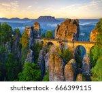 the bastei bridge  saxon... | Shutterstock . vector #666399115