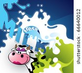 Illustrated milk banner with comic cow. - stock vector
