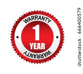 red 1 year warranty badge ... | Shutterstock .eps vector #666400579