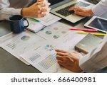 two businessman investment... | Shutterstock . vector #666400981