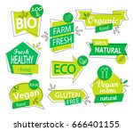 vector set of bio  eco  organic ... | Shutterstock .eps vector #666401155
