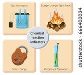 chemical reaction indicators... | Shutterstock .eps vector #666402034