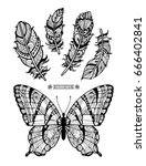 butterfly and feathers. wild... | Shutterstock .eps vector #666402841