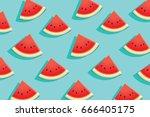 watermelon slice on blue... | Shutterstock .eps vector #666405175