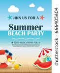 beach party invitation poster... | Shutterstock .eps vector #666405604