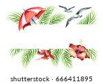 summer time. watercolor hand... | Shutterstock . vector #666411895