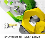 vector 3d effect hexagon... | Shutterstock .eps vector #666412525