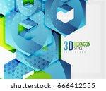 vector 3d effect hexagon... | Shutterstock .eps vector #666412555