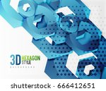 vector 3d effect hexagon... | Shutterstock .eps vector #666412651