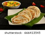 north indian food paratha with... | Shutterstock . vector #666413545