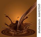 splashing chocolate liquid for... | Shutterstock .eps vector #666415165